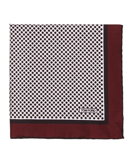 TOM FORD Polka-Dot Silk Pocket Square, Red
