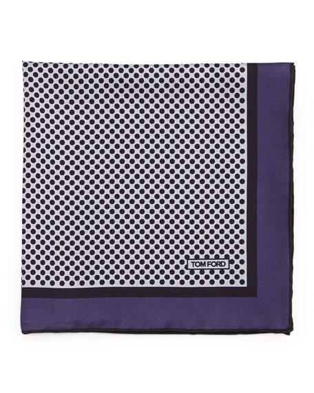 TOM FORD Polka-Dot Silk Pocket Square, Purple