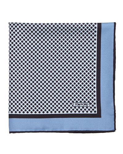 Polka-Dot Silk Pocket Square, Light Blue