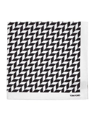 Geometric-Print Silk Pocket Square, Black/White