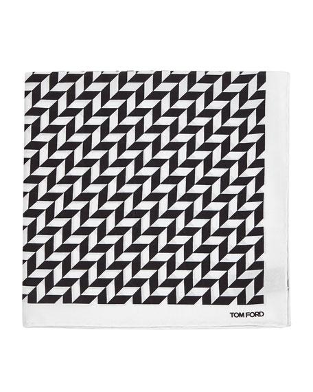 TOM FORD Geometric-Print Silk Pocket Square, Black/White