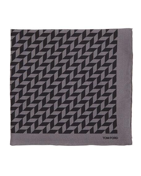 TOM FORD Geometric-Print Silk Pocket Square, Black/Gray