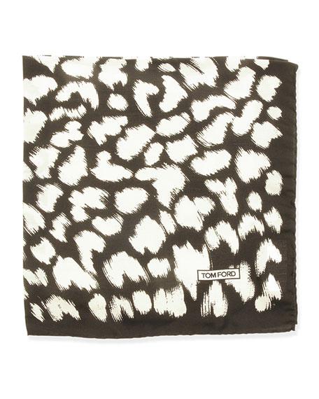 TOM FORD Animal-Print Pocket Square, Black/White