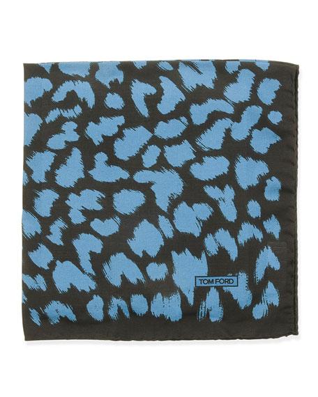 TOM FORD Animal-Print Pocket Square, Blue/Black