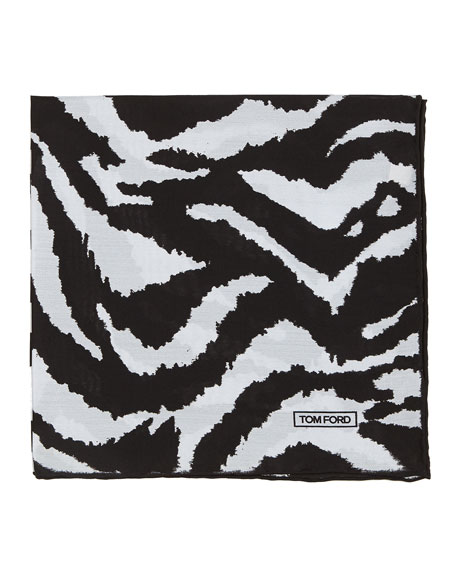 TOM FORD Zebra-Print Silk Pocket Square, Black/White