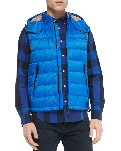 Lightweight Puffer Vest with Hood, Blue