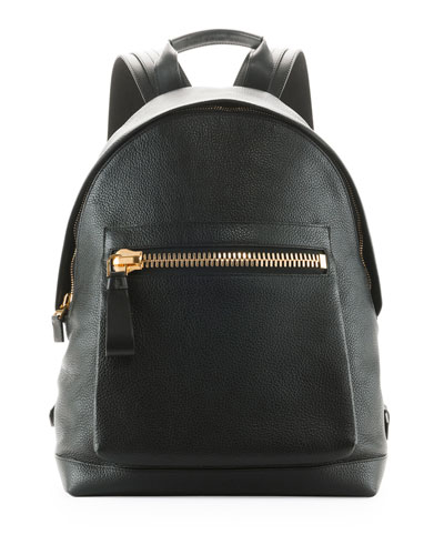 Zip-Pocket Pebbled Backpack, Black