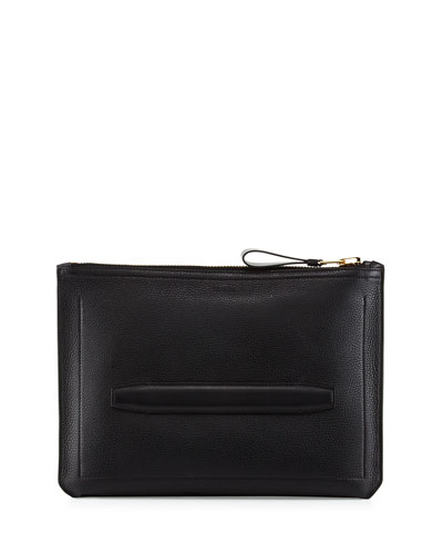 Leather Document Case, Black