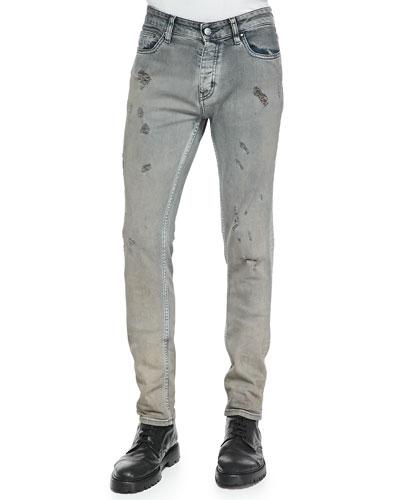 Nygel Slim-Fit Distressed Jeans, Gray/Blue