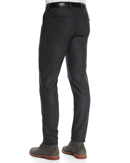 Single-Pleat Flannel Trousers, Charcoal