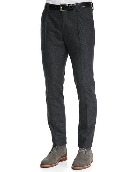 Single-Pleat Flannel Trousers, Charcoal