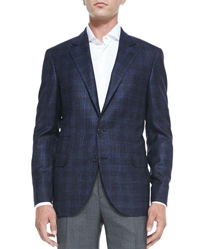 Wool/Cashmere Plaid Jacket, Blue