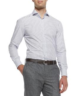 Striped Woven Cotton Shirt, Blue
