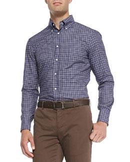 Check Button-Collar Shirt, Blue