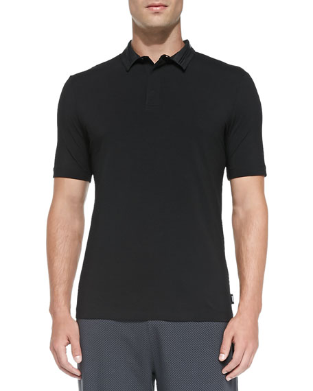 Armani Collezioni Stretch-Knit Polo with Double Collar, Black