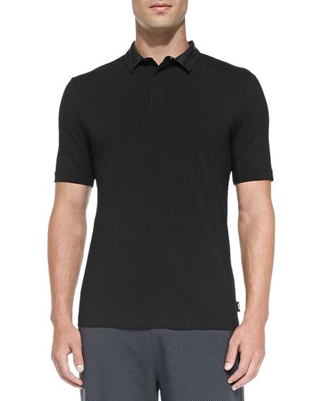 Armani Collezioni Stretch-Knit Polo with Double Collar, Black
