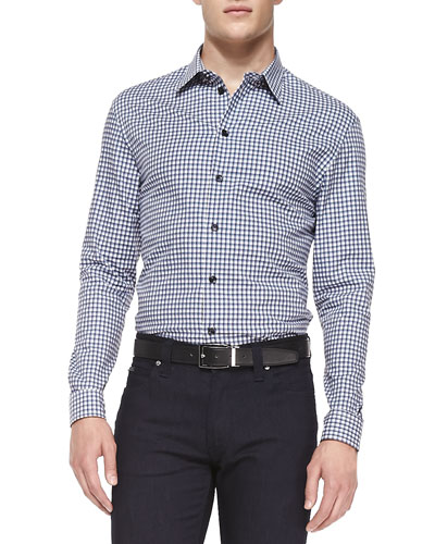 Button-Down Gingham Shirt, Navy/White