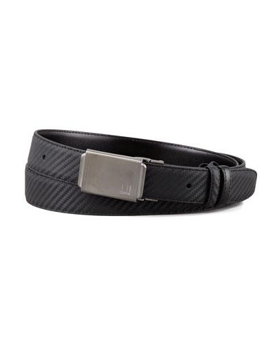 Woven Leather Panel-Buckle Belt