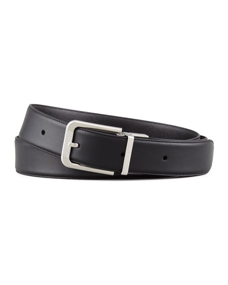 Diamond Scored-Buckle Leather Belt