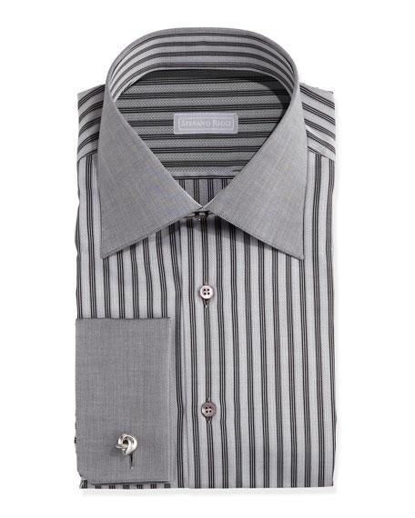 Stefano ricci french cuff stripe dress shirt black for Dress shirt french cuffs