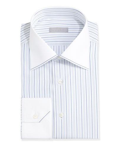 Contrast-Collar Narrow-Stripe Dress Shirt, Light Blue