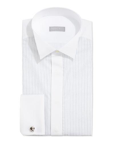 Dash-Stripe Tuxedo Shirt, White