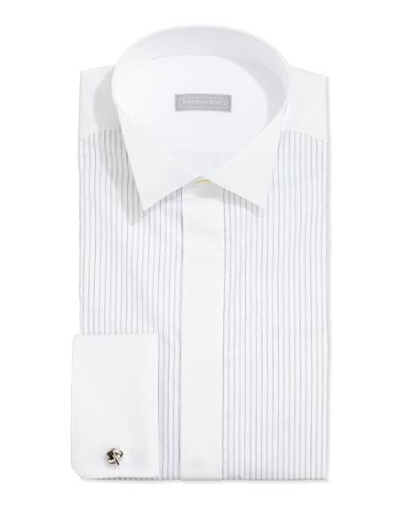 Stefano Ricci Dash-Stripe Tuxedo Shirt, White