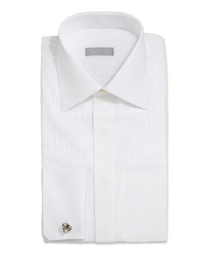 Tonal-Stripe Tuxedo Shirt, White
