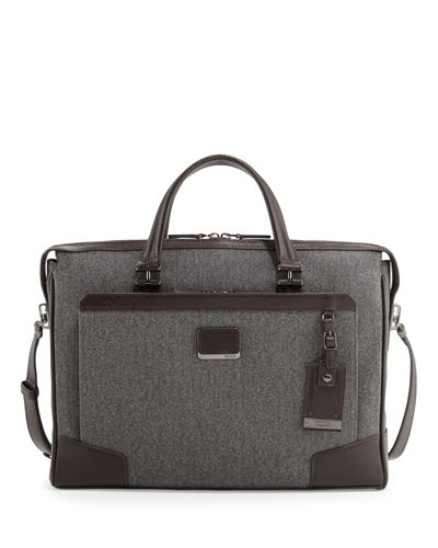 Regis Coated Slim Zip Briefcase, Earl Gray