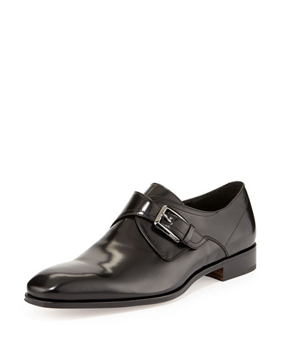 Salvatore Ferragamo Cipro Monk-Strap Loafer, Black
