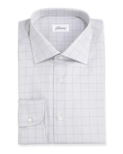 Glen Plaid Dress Shirt, Gray