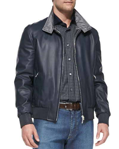 Okayama Reversible Leather/Silk Jacket, Blue
