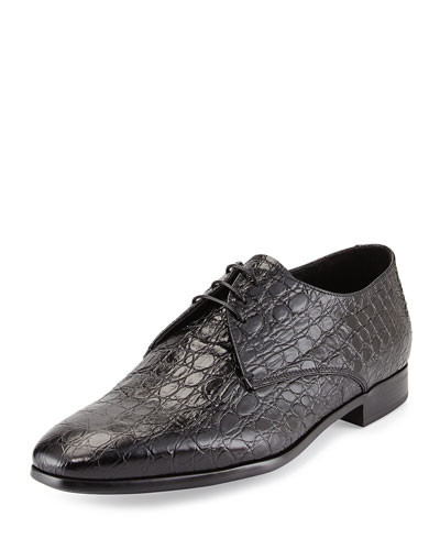 Giorgio Armani Embossed-Calfskin Lace-Up, Black
