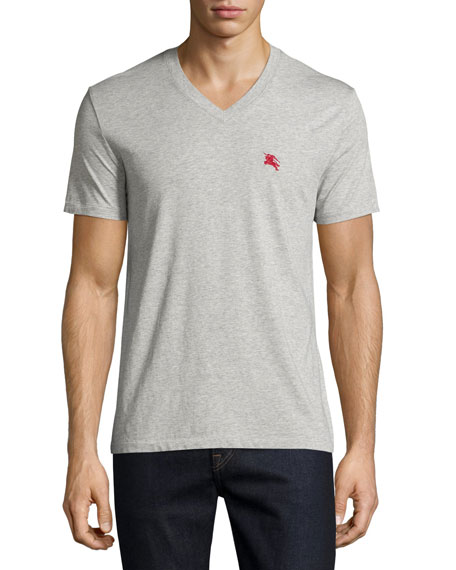 Burberry BritLindon Cotton V-Neck T-Shirt, Gray