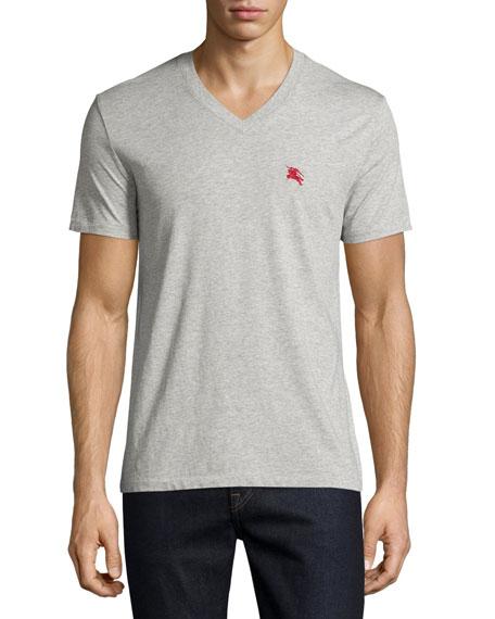 Burberry BritLindon Cotton V-Neck T-Shirt, Gray