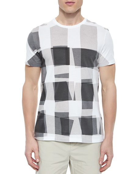 Burberry Brit Short-Sleeve Check Graphic Tee, Gray/White