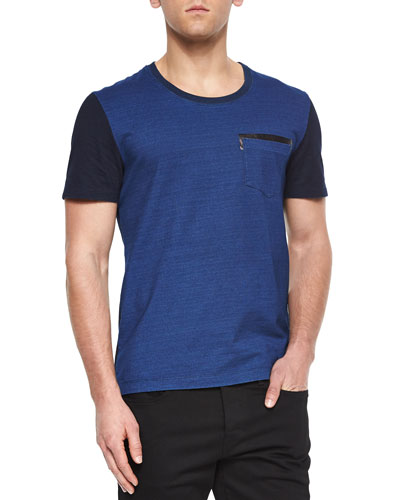 Crewneck Short-Sleeve Colorblock T-Shirt