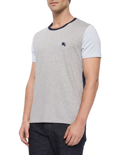 Colorblock Short-Sleeve Logo Tee, Pale Gray Melange