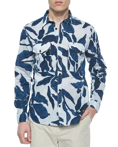 Leaf Print Long-Sleeve Shirt, Blue/Gray