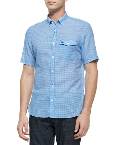 Micro-Gingham Short-Sleeve Shirt, Blue