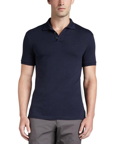 Short-Sleeve Mesh-Knit Polo Shirt, Navy