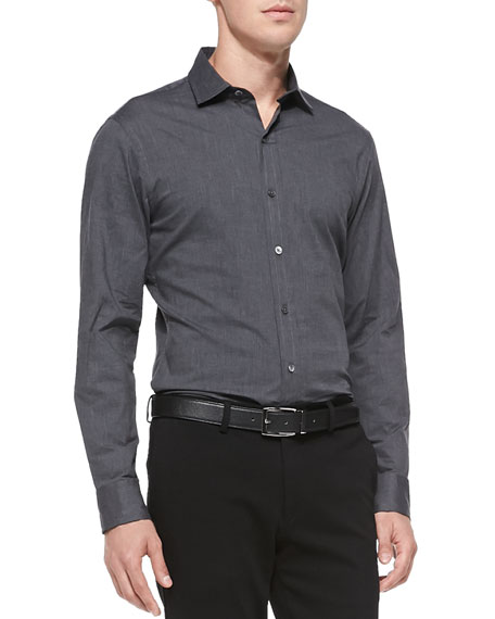 Ralph Lauren Black Label Stretch-Poplin Button-Down Shirt, Dark Gray