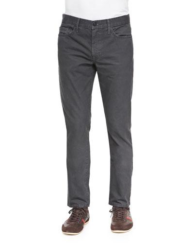 Slim Straight-Leg Five-Pocket Jeans, Charcoal