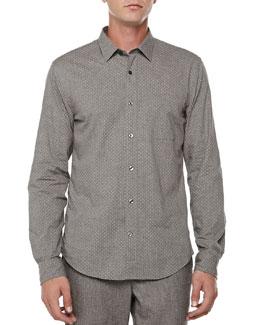 Pindot Button-Down Shirt, Dark Gray