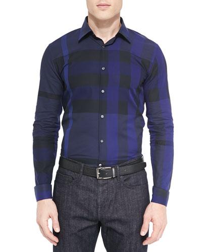 Long-Sleeve Basic Check Sport Shirt, Navy