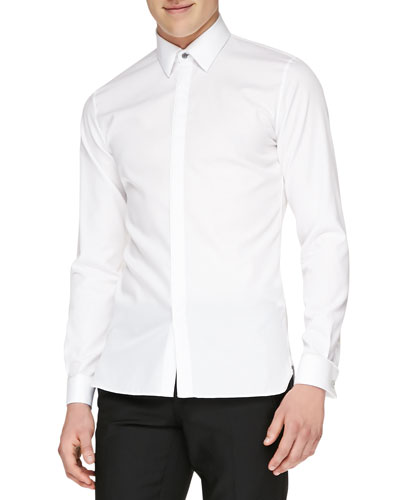 Burberry London Concealed Placket Formal Shirt, White
