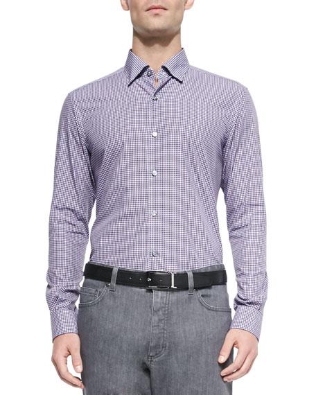 Ermenegildo zegna button down gingham shirt plum navy for Blue gingham button down shirt