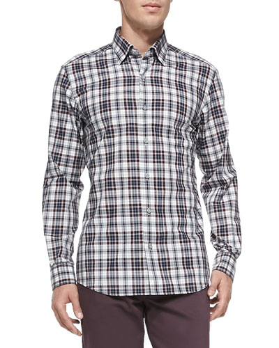 Ermenegildo Zegna Plaid Button-Down Shirt, Purple