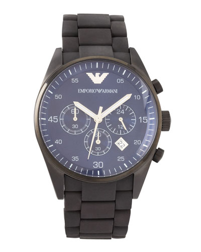 Silicon-Wrapped Bracelet Sportivo Chronograph, Black