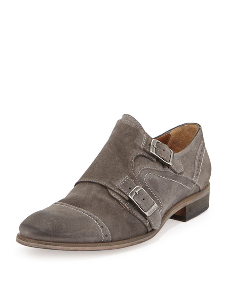John Varvatos Suede Double-Monk Shoe, Stone